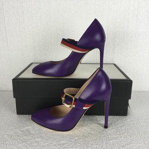 Gucci Woman Shoes Purple Leather Web High Heel DM1